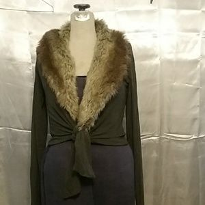 Bailey 44Tie sweater with fur collar Size L